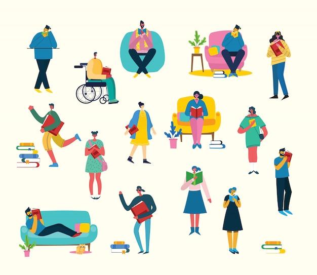 Ilustracja ludzie uczą się i zdobywają wiedzę. kreatywny projekt harmonogramu uczniowie uczą się na książkach. stylowy na plakaty, banery, strony internetowe, broszury, ulotki, karty
