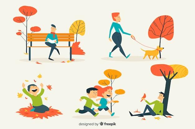 Ilustracja ludzie w jesień parku