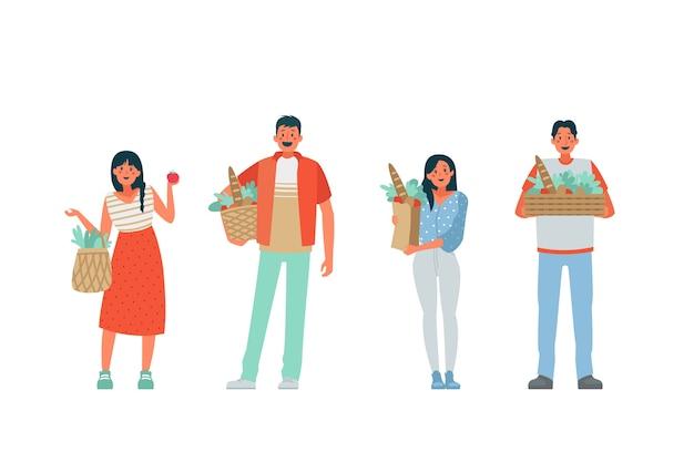 Ilustracja ludzie zielony styl życia