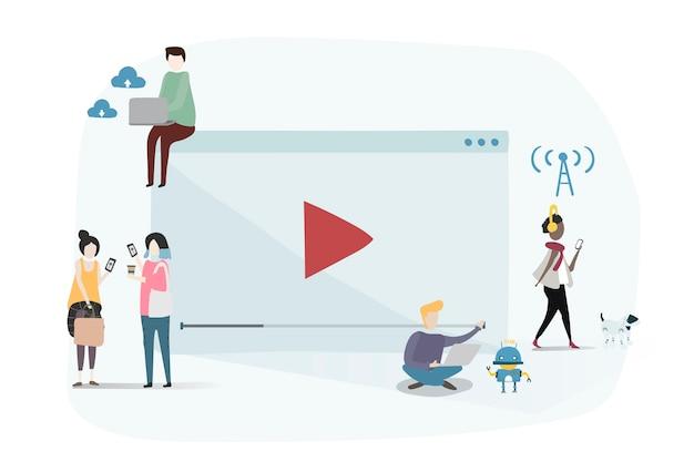 Ilustracja ludzki avatar używa technologię