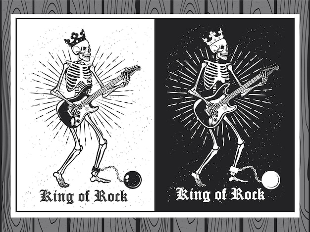 Ilustracja ludzkiego szkieletu z gitarą. król skały. szkieletowy gitarzysta.