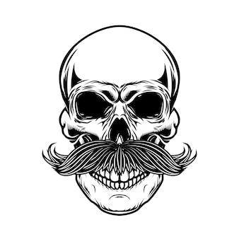 Ilustracja ludzkiej czaszki z wąsami na białym tle. ilustracja