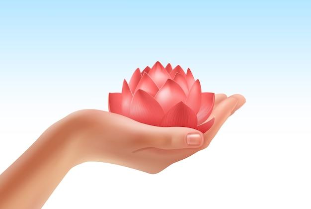 Ilustracja ludzkiej dłoni, trzymając piękny kwiat