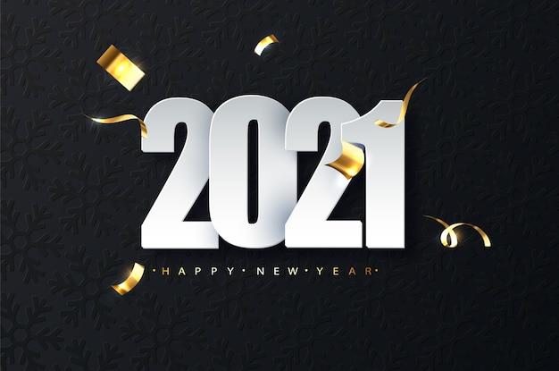 Ilustracja luksus nowego roku 2021 na ciemnym tle. życzenia szczęśliwego nowego roku
