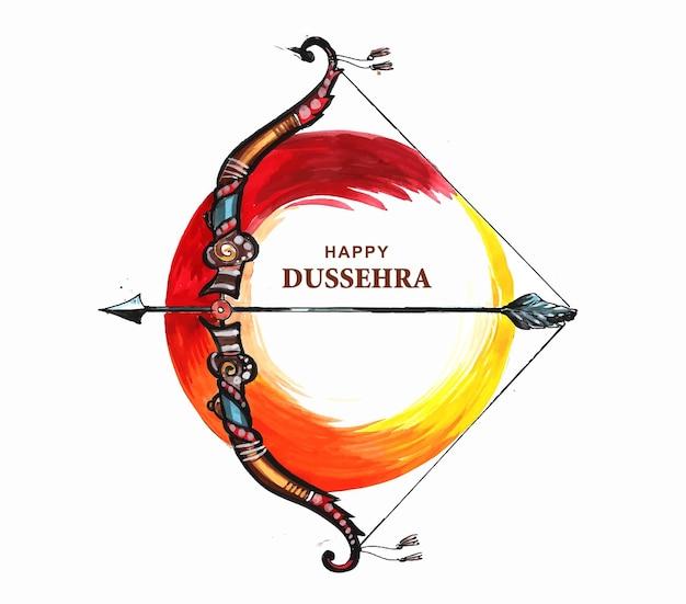Ilustracja łuku i strzały w festiwalu happy dasera w indiach