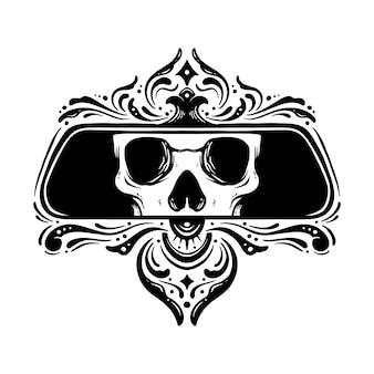 Ilustracja lustro ozdobne czaszki głowy