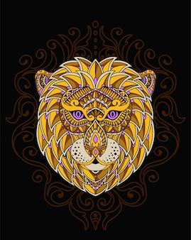 Ilustracja lwa ciepło z mandalą
