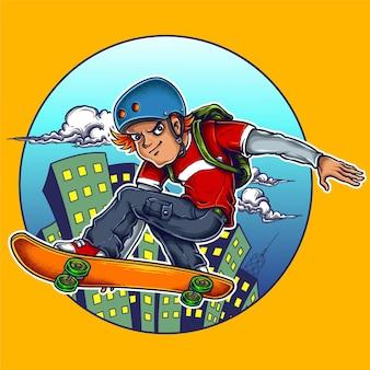 Ilustracja łyżwiarki chłopiec z deskorolka i skok na ulicie z miasta tłem