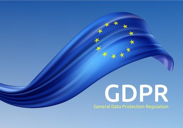 Ilustracja machania flagą unii europejskiej z rodo, ogólnym rozporządzeniem o ochronie danych na niebieskim tle