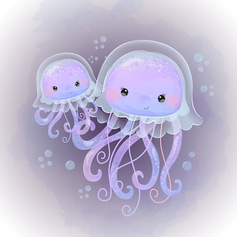 Ilustracja macierzyństwa słodkie meduzy w akwareli