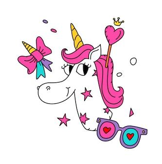 Ilustracja magicznego jednorożca z różową grzywą.