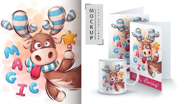 Ilustracja magicznego jelenia i merchandising