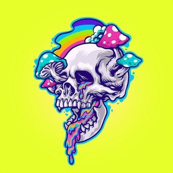 Ilustracja magicznych grzybów i trippy czaszki