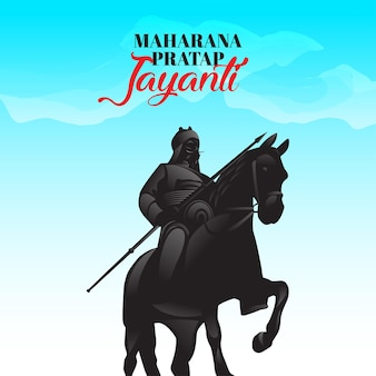 Ilustracja maharana pratap z koniem chetack