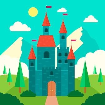 Ilustracja majestatyczny bajkowy zamek