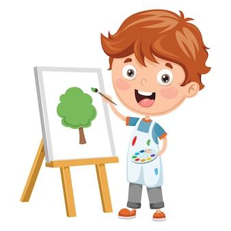 Ilustracja malarstwa dzieciaka