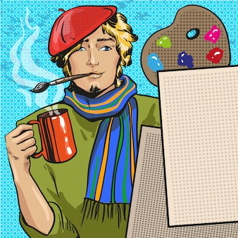 Ilustracja malarza w komiksowym stylu retro pop-art