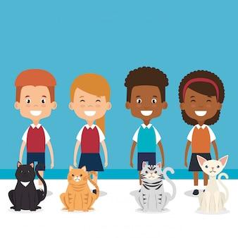 Ilustracja małe dzieci z postaciami zwierząt domowych