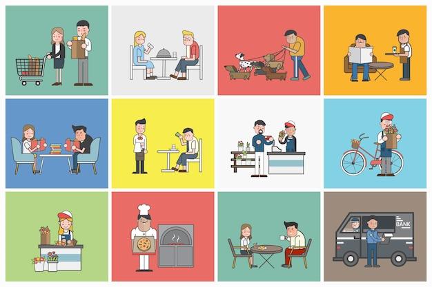 Ilustracja małego biznesu set