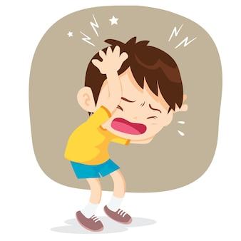 Ilustracja małego chłopca mającego ból głowy