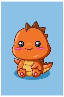 Ilustracja małego i uroczego pomarańczowego dinozaura