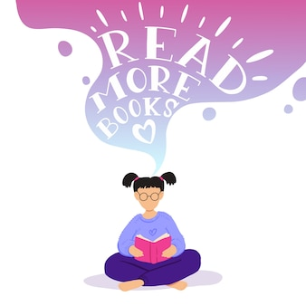Ilustracja małej dziewczynki siedzi i czyta książkę, śni.