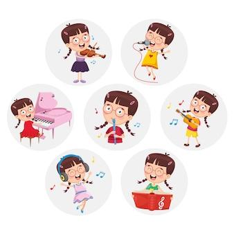 Ilustracja małej dziewczynki wykonywania sztuki
