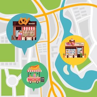 Ilustracja małej firmy z płaską mapą miasta i symbolami lokalizacji