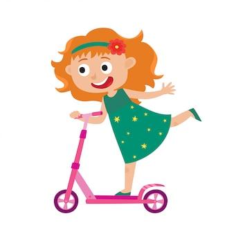 Ilustracja małej szczęśliwej dziewczyny zabawy jedzie hulajnoga