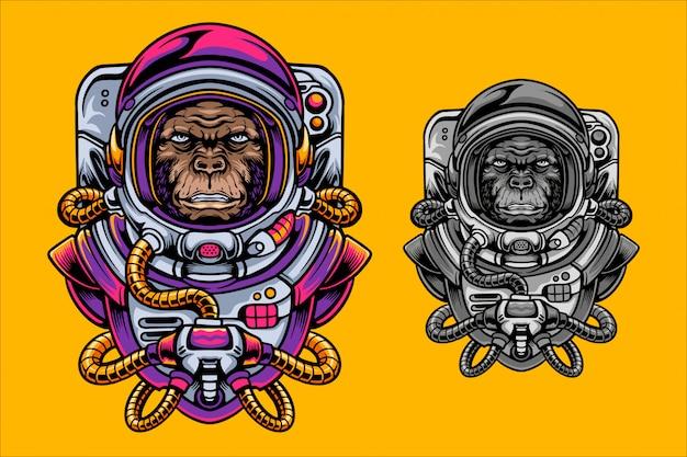 Ilustracja małpa astronauta