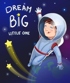 Ilustracja mały chłopiec marzyciel