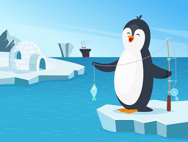 Ilustracja mały pingwinu połów na północy