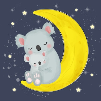 Ilustracja mama i dziecko koala