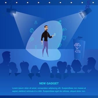 Ilustracja man presents to public new gadget