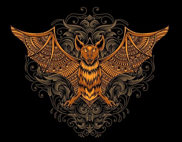 Ilustracja mandala nietoperza z ornamentem grawerowania