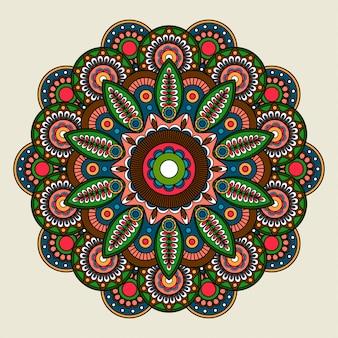 Ilustracja mandali kwiatowy jasny kolorowy