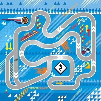 Ilustracja map drogowych samochodów wyścigowych ze sportowymi elementami dla dzieci mata do zabawy i projekt maty rolkowej