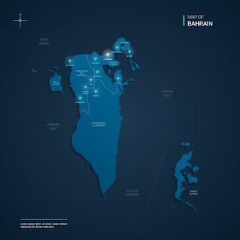 Ilustracja mapa bahrajnu z niebieskimi neonowymi punktami świetlnymi - trójkąt na ciemnoniebieskim gradiencie. podziały administracyjne, miasta, granice, stolica.
