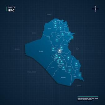Ilustracja mapa iraku z niebieskimi punktami światła neonowego