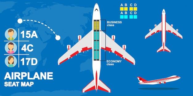 Ilustracja mapa samolotu klasy siedzenia. lotnicze krzesło czarterowe dla pasażera.