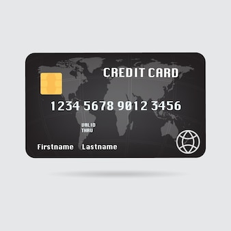 Ilustracja mapa świata czarna karta kredytowa z cienia.
