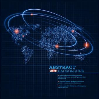 Ilustracja mapa świata ze świecącymi punktami i liniami.