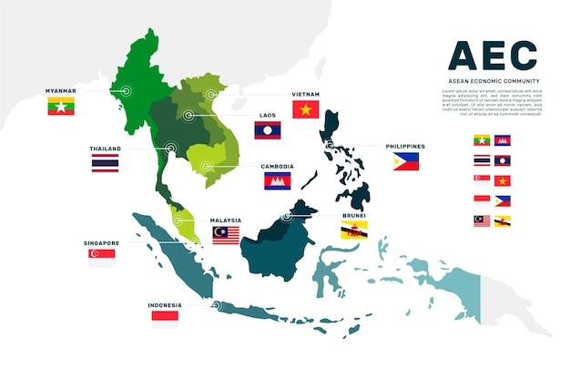 Ilustracja mapy asean