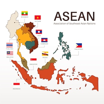 Ilustracja mapy asean