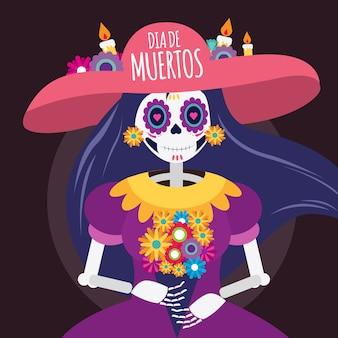 Ilustracja martwej czaszki dia de muertos
