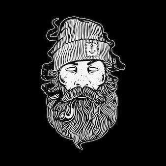 Ilustracja marynarz człowiek awanturnik