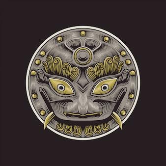 Ilustracja maska badass koło