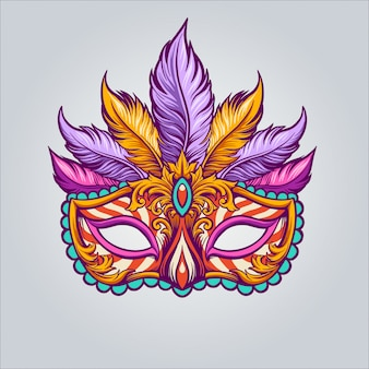 Ilustracja maska mardi gras