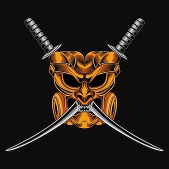 Ilustracja maska samuraja krzyż miecz