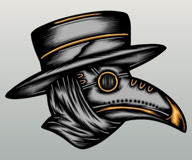Ilustracja maski dżumy lekarza.